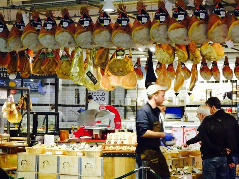 Proscuitto hanging at Eataly